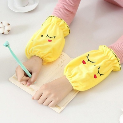 Fashion Short Warm Flannelette Clothing Oversleeves - Yellow (Pair)