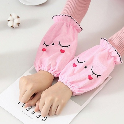 Fashion Short Warm Flannelette Clothing Oversleeves - Pink (Pair)