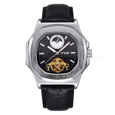 MCE Unisex High-End Mechanical Watch with Leather Strap - Silver + Black