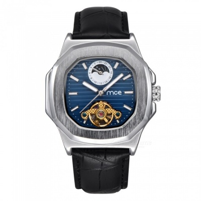 MCE Unisex High-End Mechanical Watch with Leather Strap - Silver + Blue