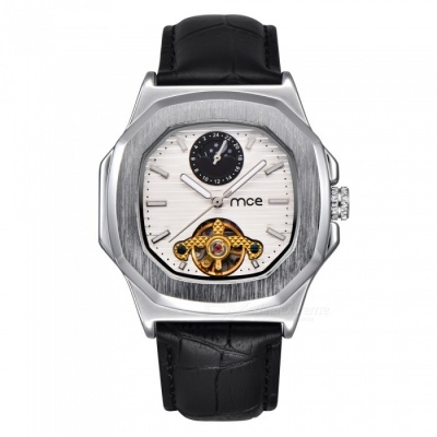 MCE Unisex High-End Mechanical Watch with Leather Strap - Silver + White