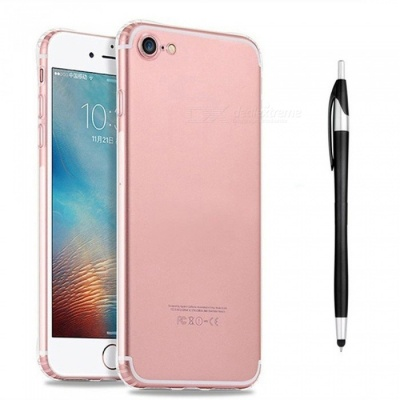 SZKINSTON Shockproof TPU Case with Black Ballpoint Capacitive Pen for IPHONE 7 / 8 - Transparent
