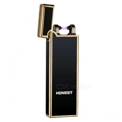 HONEST USB Rechargeable Windproof Coil Slim Lighter Set with USB Charging Cable and Gift Box - Black