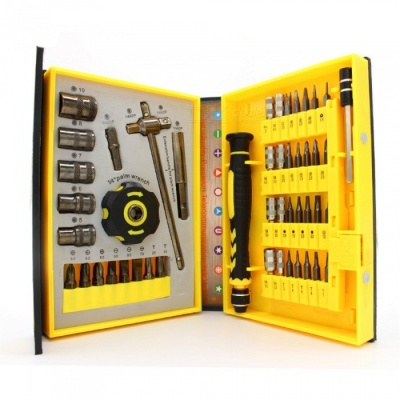 HakkaDeal 47Pcs Multi Function 47-in-1 Screwdriver Set, Ratchet Sleeve Computer Household Maintenance Tools - Yellow