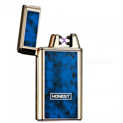 HONEST USB Rechargeable Windproof Coil Slim Lighter with USB Charging Cable and Gift Box - Blue