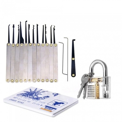 HakkaDeal Lock Pick Practice Tool Set for Locksmith - Silver