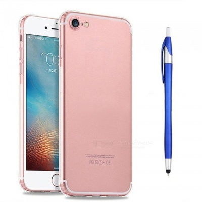 SZKINSTON Shockproof TPU Back Case With Blue Ballpoint Capacitive Pen for IPHONE 7 / 8