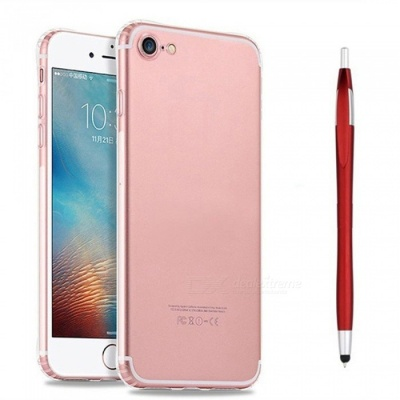 SZKINSTON Shockproof TPU Back Case With Red Ballpoint Capacitive Pen for IPHONE 7 / 8