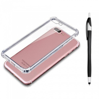 SZKINSTON Shockproof TPU Back Case With Black Ballpoint Capacitive Pen for IPHONE 7 / 8 Plus