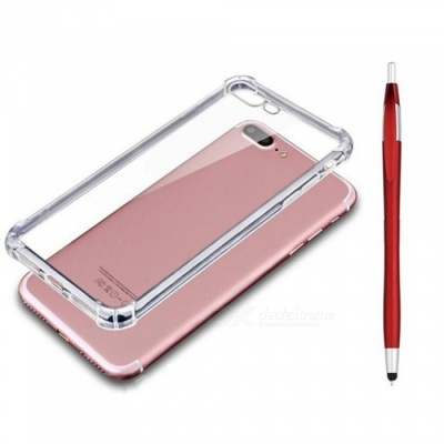 SZKINSTON Shockproof Protective TPU Back Case With Red Ballpoint Capacitive Pen for IPHONE 7 / 8 Plus