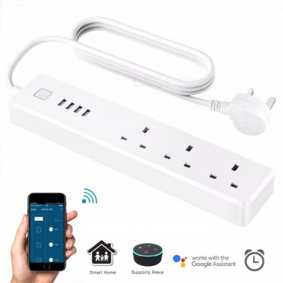 JIAWEN Smart Home Electrical Power Socket, Supports Wi-Fi App Wireless Remote Control - White (UK Plug)
