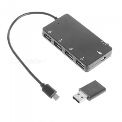 Micro USB to OTG USB 4 Ports Hub Power Adapter Charging Cable for Smartphone Tablet