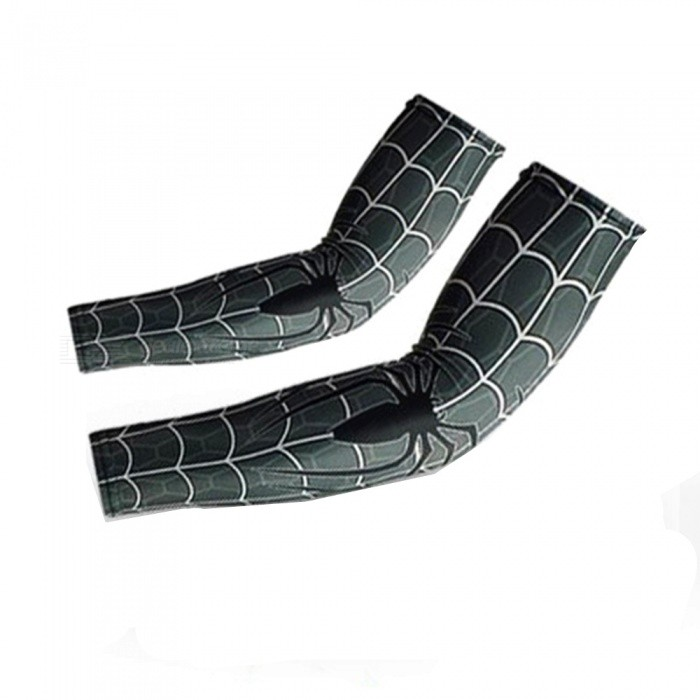 Spider + Web Pattern Outdoor Sports Sunproof Quick-Drying Wick Moisture Breathable Elastic Arm Sleeve - Grey + White