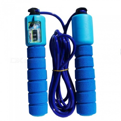 Sports Fitness Skipping Rope with Sponge Sleeve, Digital Counting - Blue