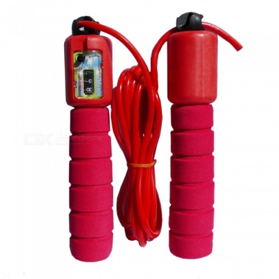 Sports Fitness Skipping Rope with Sponge Sleeve, Digital Counting - Red