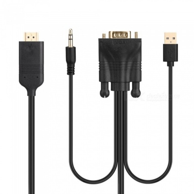 VGA to HDMI Cable with Audio Computer to Video Converter HD USB Power Supply Cable Adapter