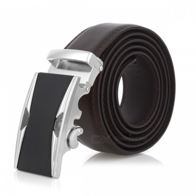 Stylish Leather Belt with Automatic Buckle for Men - Silver + Brown
