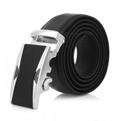 Stylish Leather Belt with Automatic Buckle for Men - Silver + Black