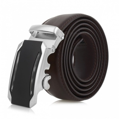 Cool Stylish Leather Belt with Automatic Buckle for Men - Silver + Brown