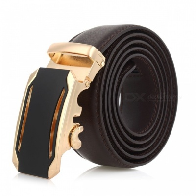Cool Stylish Leather Belt with Automatic Buckle for Men - Golden + Brown