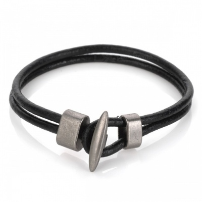 European and American Style Knitted Leather Bracelet - Black