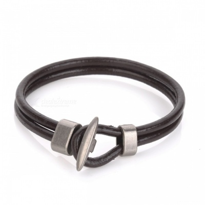 European and American Style Knitted Leather Bracelet - Brown