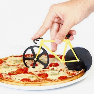 Creative Bicycle Style Pizza Knife Stainless Steel Wheel Pizza Cutter Kitchen Tool - Yellow