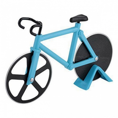 Creative Bicycle Style Pizza Knife Stainless Steel Wheel Pizza Cutter Kitchen Tool - Blue