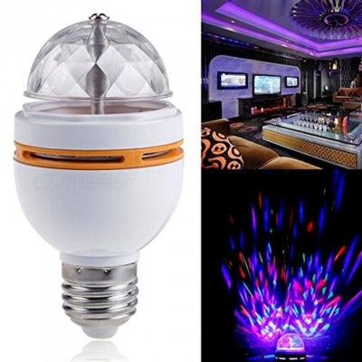ZHAOYAO 3W Colorful Auto Rotating RGB LED Bulb Stage Light for Party, Disco, Home Decoration - Orange + White