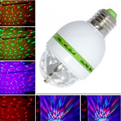 ZHAOYAO 3W Colorful Auto Rotating RGB LED Bulb Stage Light for Party, Disco, Home Decoration - Green + White