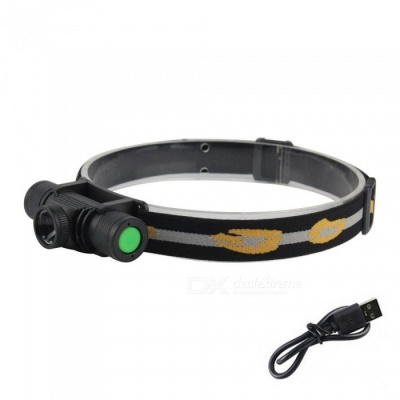 ZHAOYAO Waterproof  L2 6-Mode LED Headlamp, Zooming Rechargeable Headlight with USB Cable