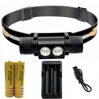 ZHAOYAO Waterproof L2 2-LED 6-Mode LED Rechargeable Head Lamp with USB Charging Cable + 18650 Batteries + EU Charger