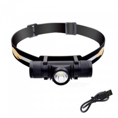 ZHAOYAO Waterproof L2 6-Mode LED Rechargeable Head Lamp Headlight with USB Charging Line - Black