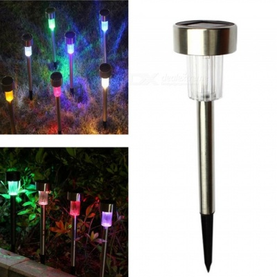 ZHAOYAO Solar Tube Stainless Steel LED Colorful Light Inserted Lawn Garden Lamp Night Light
