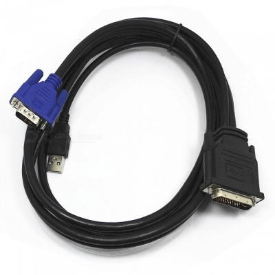 Durable DVI 30+5 to VGA with USB Video Cable for Projector - Black / 180cm