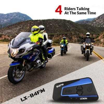 Lexin Motorcycle Bluetooth Helmet Headset Intercom with FM, Supports 4 Riders Talking At The Same Time