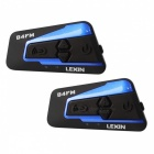Lexin Motorcycle Bluetooth Helmet Headsets Intercom with FM, Supports 4 Riders Talking At The Same Time - 2PCS