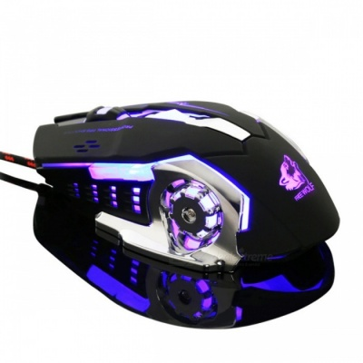 Portable Ultra Slient Wired Gaming Mouse for LOL and CF - Black