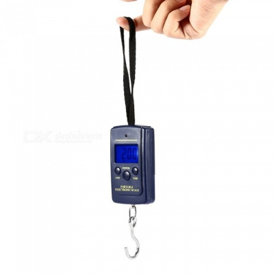 "A01 40kg/10g 1.5"" Electronic Portable Hook Fishing Scale - Dark Blue (2 x AAA)"