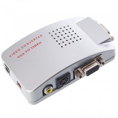 VGA to CVBS S-Video, PC to TV Video 1080P HD Converter Adapter - Silver