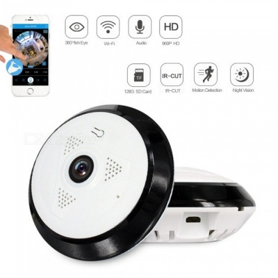 Strongshine 1.3MP 360 Degree HD Panoramic IP Network Security WiFi Camera 960P Fish Eye Lens - UK Plug