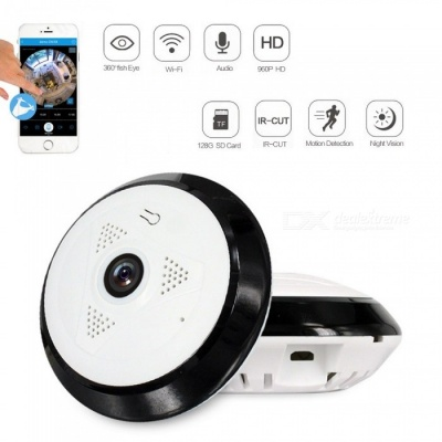Strongshine 1.3MP 360 Degree HD Panoramic IP Network Security WiFi Camera 960P Fish Eye Lens - US Plug