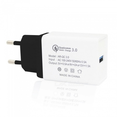 18W Universal Travel QC3.0 Quick Charge USB Power Adapter Wall Charger - Black + White (EU Plug)