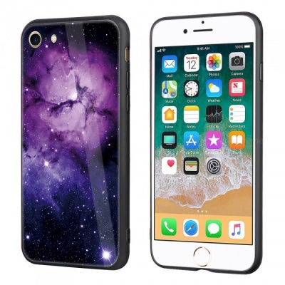 Dayspirit Starry Sky Pattern Tempered Glass Back Cover Case for IPHONE 7, IPHONE 8 - Purple