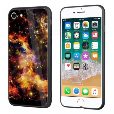 Dayspirit Starry Sky Pattern Tempered Glass Back Cover Case for IPHONE 7, IPHONE 8 - Yellow