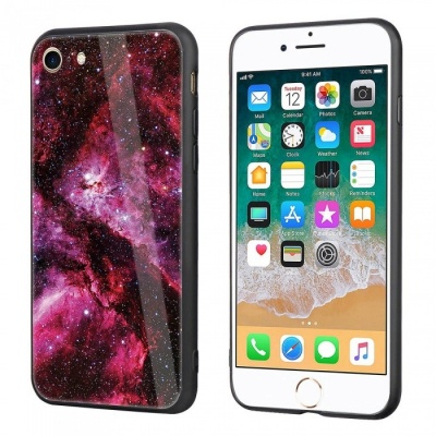 Dayspirit Starry Sky Pattern Tempered Glass Back Cover Case for IPHONE 7, IPHONE 8 - Deep Pink