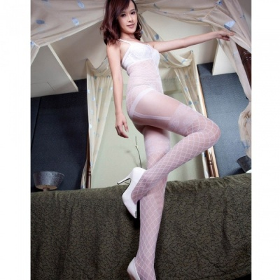 Fanshimite Sexy Translucent Thin Crotchless Round Neck Siamese Stockings for Women - White