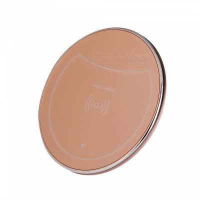 F10 10W Qi Fast Charge Wireless Charger for IPHONE 8 / X, Samsung Galaxy S7 / S8 / S6 Edge Plus and More - Rose Gold