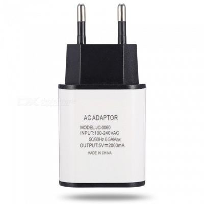 5V 2A EU Plug Fast Charger for IPHONE X / Samsung / HTC / Xiaomi / PSP - White + Black