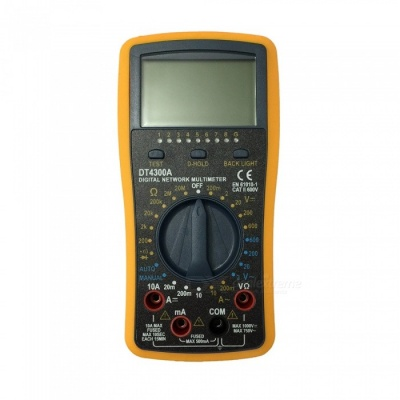 DT-4300A LCD Handheld Digital Multimeter Using for Home and Car - Black